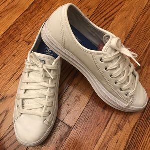 Keds white leather platform tennis shoes